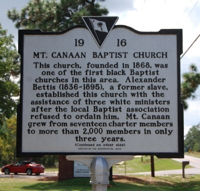 Mt. Canaan Baptist Church Marker - Front image. Click for full size.