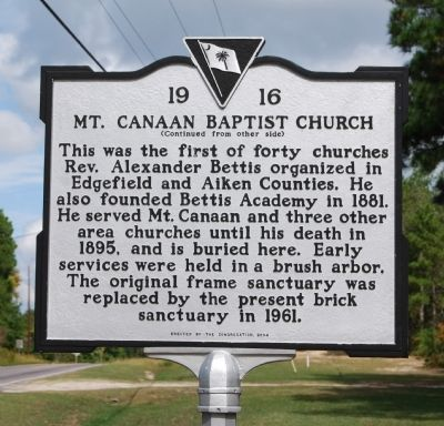 Mt. Canaan Baptist Church Marker - Reverse image. Click for full size.
