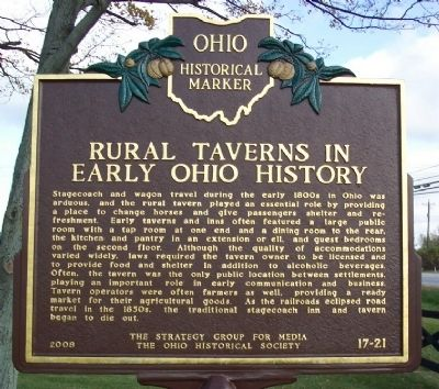 Rural Taverns in Early Ohio History Marker (side B) image. Click for full size.
