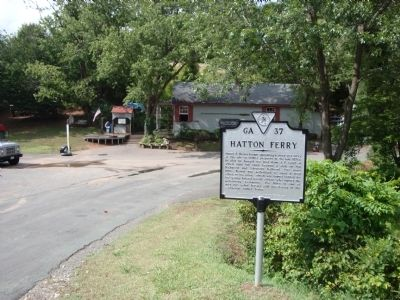 View Hatton Ferry Marker with the old store in the background. image. Click for full size.