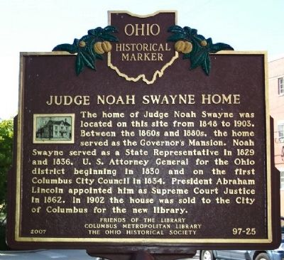 Judge Noah Swayne Home Marker (side B) image. Click for full size.