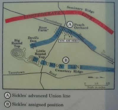 Battle Map showing Sickles' Positions image. Click for full size.