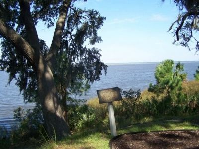 Damage From Naval Bombardments Marker, Ogeechee River in background image. Click for full size.
