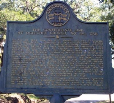 The Confederate Line at Ogeechee Church Marker image. Click for full size.