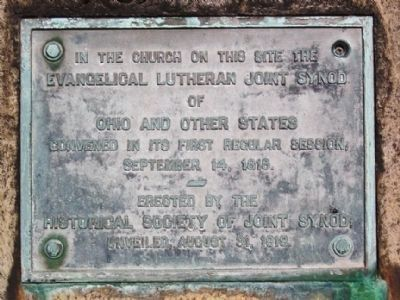 Old First Lutheran Synod Marker image. Click for full size.