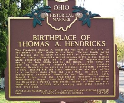 Birthplace of Thomas A. Hendricks Marker image. Click for full size.