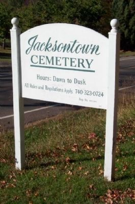 Jacksontown Cemetery Sign on Ohio Route 13 image. Click for full size.