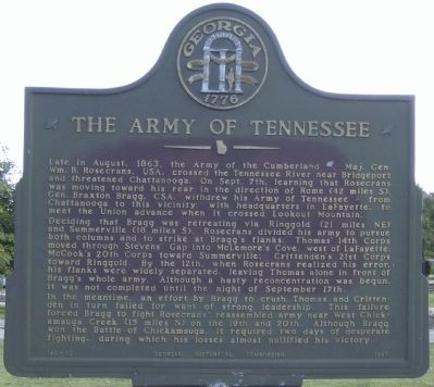 The Army of Tennessee Marker image. Click for full size.