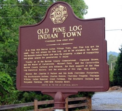 Reverse side of Old Pine Log Indian Town Marker image. Click for full size.