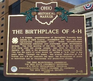 The Birthplace of 4-H Marker image. Click for full size.
