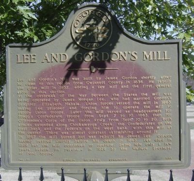 Lee and Gordon's Mill Marker-Close up image. Click for full size.