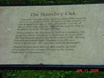 The Boundry Oak Marker image. Click for full size.