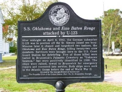 S.S. <i>Oklahoma </i>and <i>Esso Baton Rouge </i> Marker Photo, Click for full size