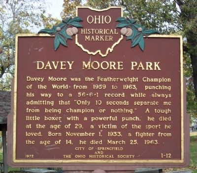 Davey Moore Park Marker image. Click for full size.
