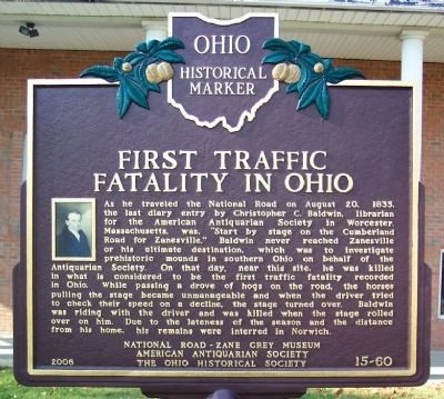 First Traffic Fatality in Ohio Marker (side A) image. Click for full size.