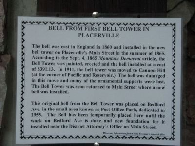 Signage Discribing the Temporary Display of the Bell image. Click for full size.