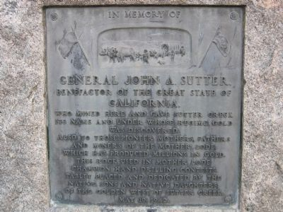 In Memory of General John A. Sutter Marker Photo, Click for full size