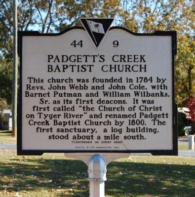 Padgett's Creek Baptist Church Marker - Front image. Click for full size.