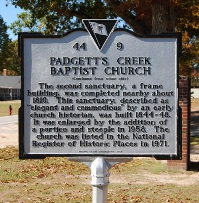 Padgett's Creek Baptist Church Marker - Reverse image. Click for full size.