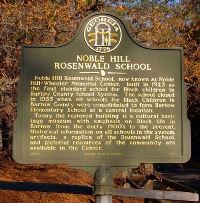 Noble Hill Rosenwald School Marker image. Click for full size.