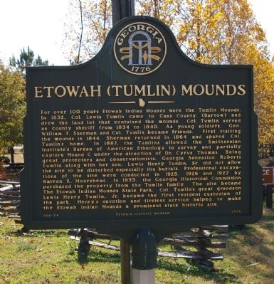 Etowah (Tumlin) Mounds Marker Photo, Click for full size
