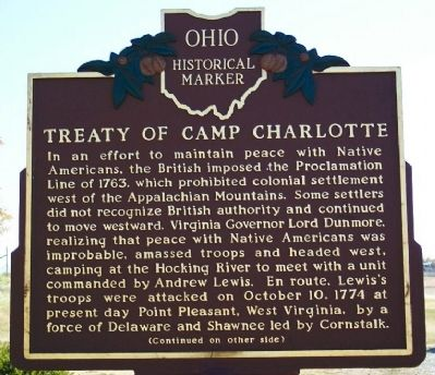Treaty of Camp Charlotte Marker (side A) image. Click for full size.