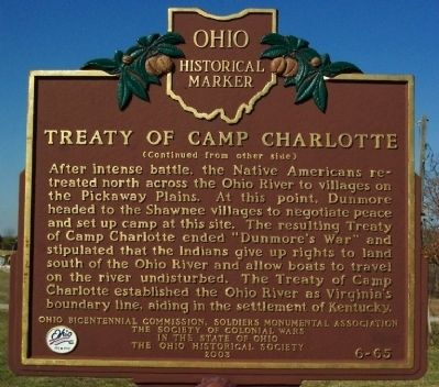 Treaty of Camp Charlotte Marker (side B) image. Click for full size.