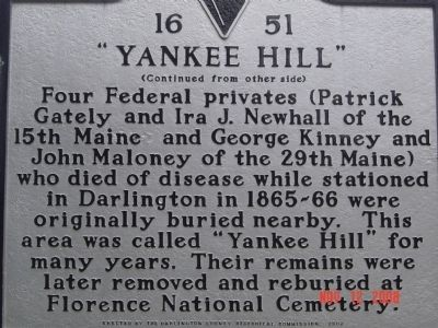 """Yankee Hill"" Marker, reverse side image, Click for more information"
