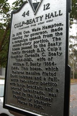 Culp-Beaty Hall Marker image. Click for full size.