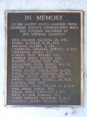 Savannah's Marine Corps Memorial Marker, West face Photo, Click for full size