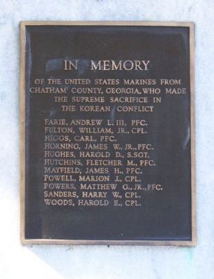 Savannah's Marine Corps Memorial East face image. Click for full size.