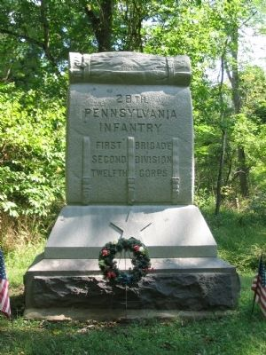 Front of 28th Pennsylvania Infantry Monument image. Click for full size.
