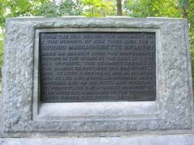 Front Plaque of the Second Massachusetts Infantry Monument image. Click for full size.