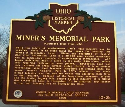 Miner's Memorial Park Marker (Side B) image. Click for full size.