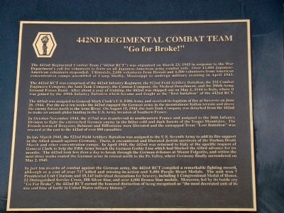 442nd Regimental Combat Team Tablet Photo, Click for full size