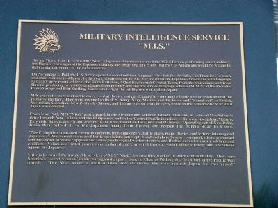 Military Intelligence Service Tablet Photo, Click for full size
