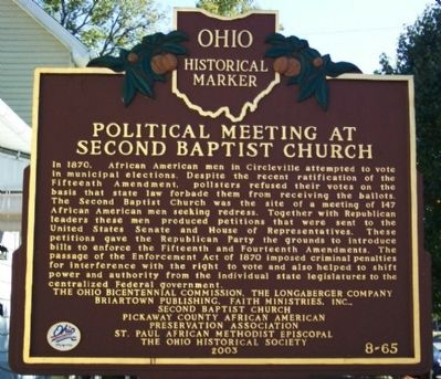 Political Meeting at Second Baptist Church Marker image. Click for full size.