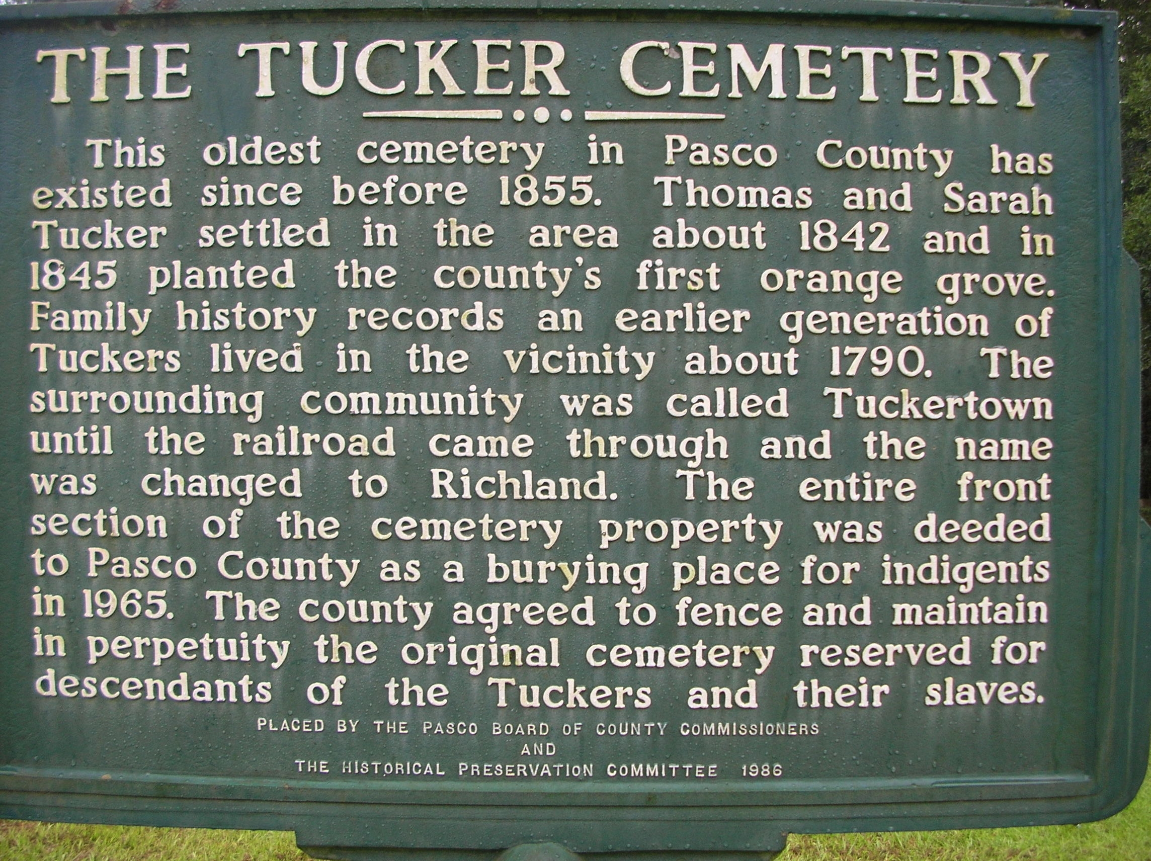The Tucker Cemetery Marker