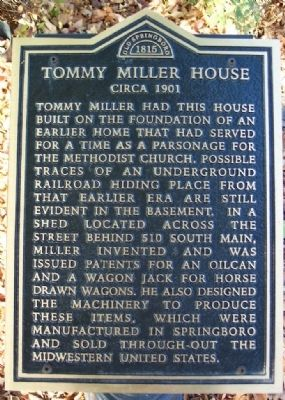 Tommy Miller House Marker image. Click for full size.