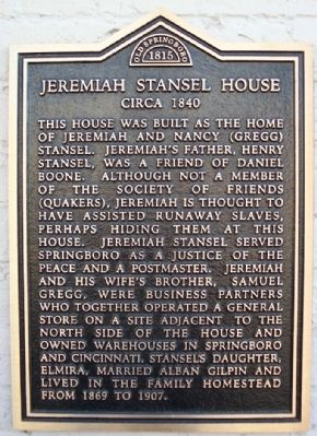 Jeremiah Stansel House Marker image. Click for full size.