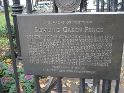 Bowling Green Fence Marker Photo, Click for full size