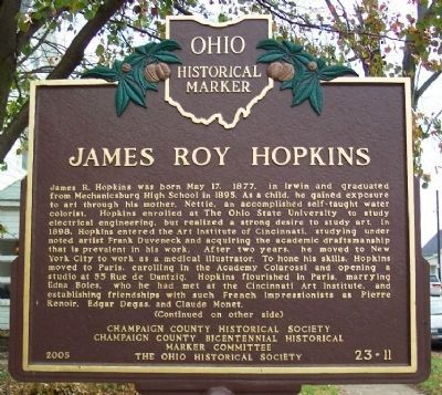 James Roy Hopkins Marker (side A) image. Click for full size.