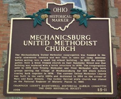 Mechanicsburg United Methodist Church Marker image. Click for full size.