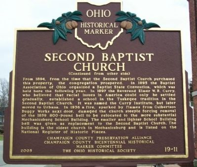 Second Baptist Church Marker (side B) image. Click for full size.