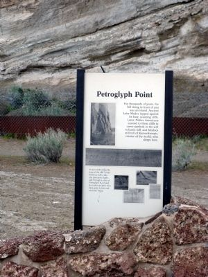 Petroglyph Point Marker with Cliff in Background image. Click for full size.