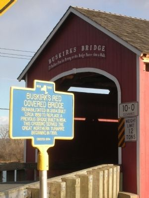 Buskirk's Red Covered Bridge Marker image. Click for full size.