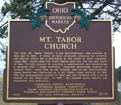 Mt. Tabor Church Marker image. Click for full size.