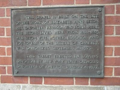 Home of Elizabeth Ann Seton Marker image. Click for full size.