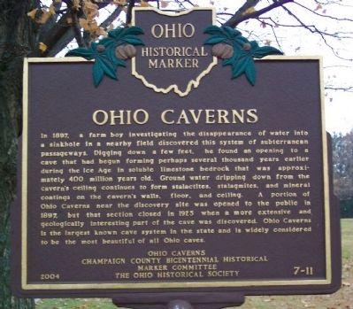 Ohio Caverns Marker Photo, Click for full size