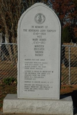 Reverend John Simpson Marker Photo, Click for full size